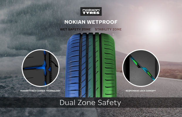 Технология Dual Zone Safety в Nokian Wetproof